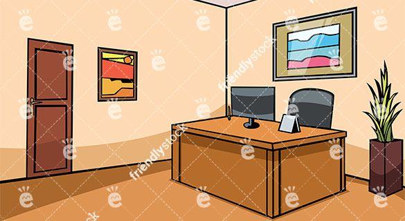 Empty Office Reception Desk Vector Background.