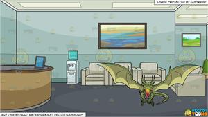 A Fire Breathing Green Dragon and An Office Reception Area Background.