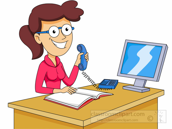 Happy Receptionist Clipart.