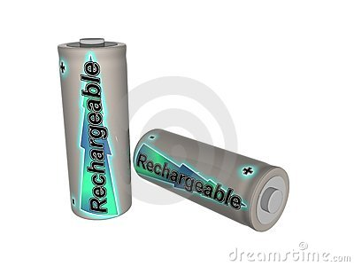 Two Rechargeable Batteries Stock Photo.