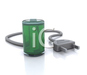 3D Rechargeable Battery Icon.
