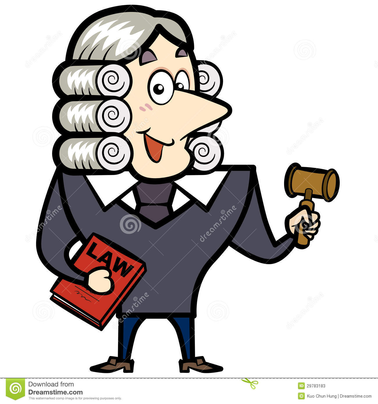 Happy Cartoon Judge Stock Vector.