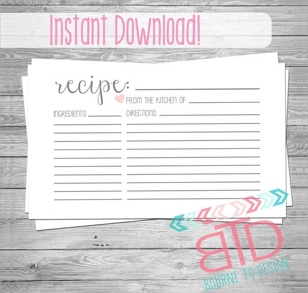 Editable Blank Customizable Recipe Card.