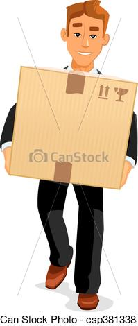 Clipart Vector of Cartoon courier delivering a parcel to recipient.
