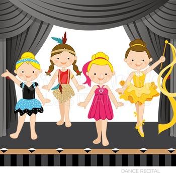 Dance Recital Cute Digital Clipart, Girls Dance Graphics.