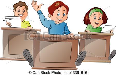 Vector Clip Art of Kids in School, illustration.