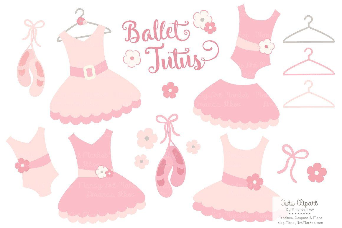 Soft Pink Ballet Tutus Clipart #recolor#resize#Illustrator.