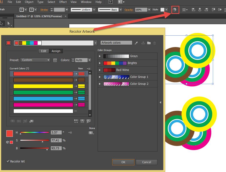 Recolour artwork tool in Adobe Illustrator.