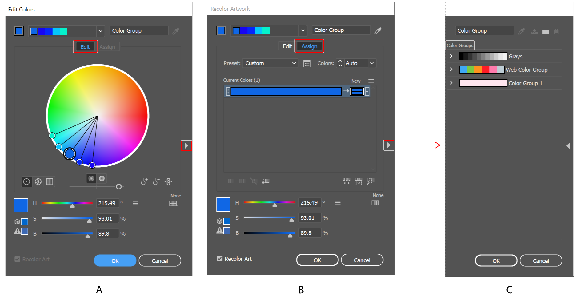 Work with color groups (harmonies) in Illustrator.