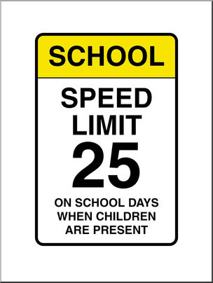 Clip Art: Signs: School Speed Limit Color.
