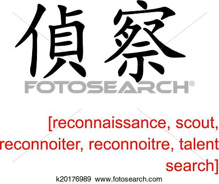 Clip Art of Chinese Sign for reconnaissance, scout, reconnoiter.