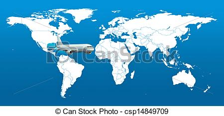 Stock Illustration of Real detail world map of continents.
