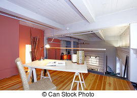 Stock Photo of Reconstructed modern living room with mezzanine.