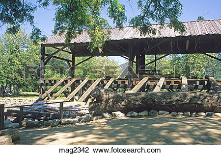 Stock Photo of Reconstructed Sutters mill at Marshall Gold.