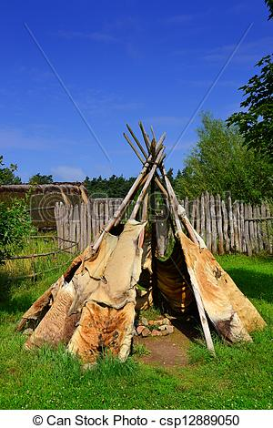 Stock Images of a tent in a reconstructed Stone Age village.