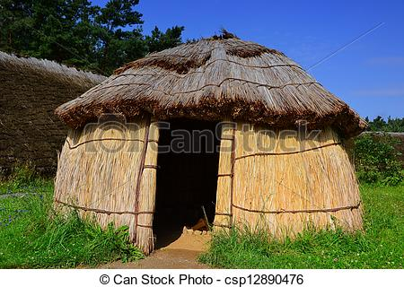 Picture of a hut in a reconstructed Stone Age village csp12890476.