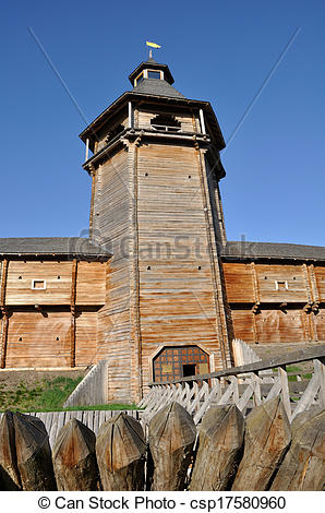 Stock Image of Reconstructed cossack fortress in Ukraine.