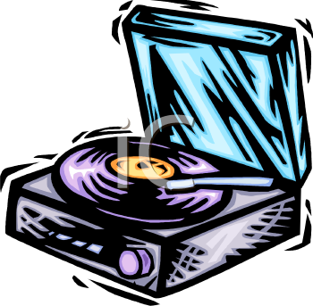 Royalty Free Clip Art Image: Record Player with a LP Playing On It.