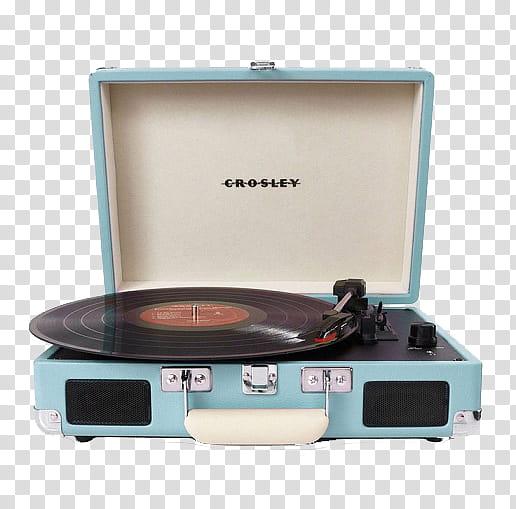 Vintage , black and teal Crosley vinyl player transparent.