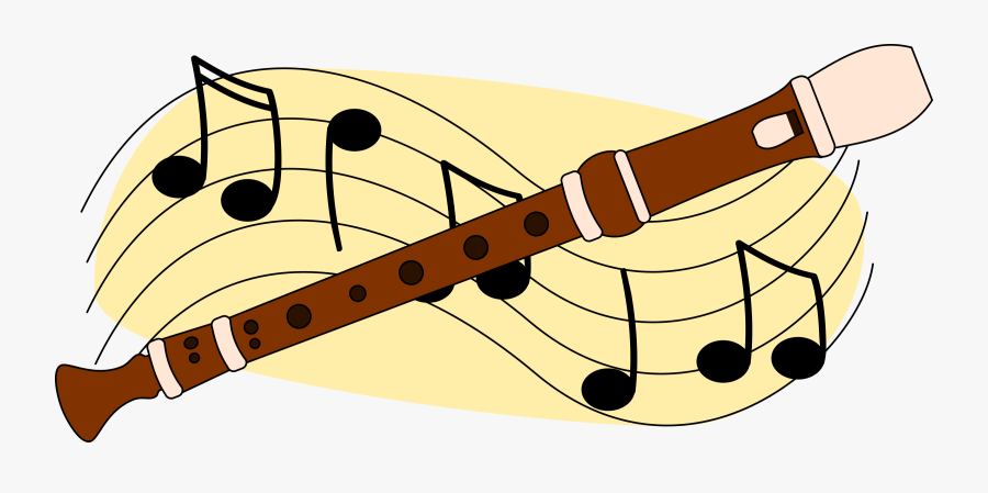 Free Flute With Music Staff Clip Art.
