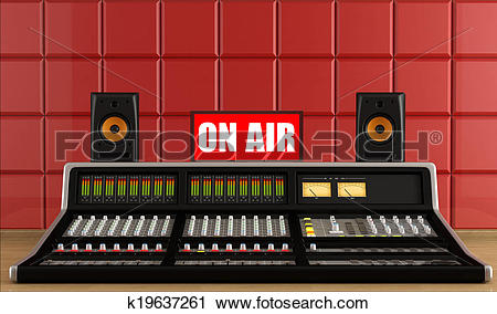 Clipart of Professional audio mixer in a recording studio.