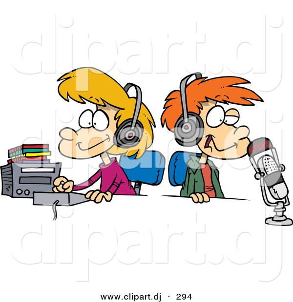 Cartoon Vector Clipart of a Happy Boy and Girl Wearing Headphones.