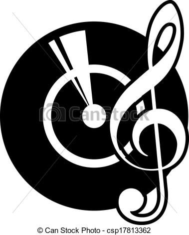Clip Art Vector of Vinyl record and a musical clef.
