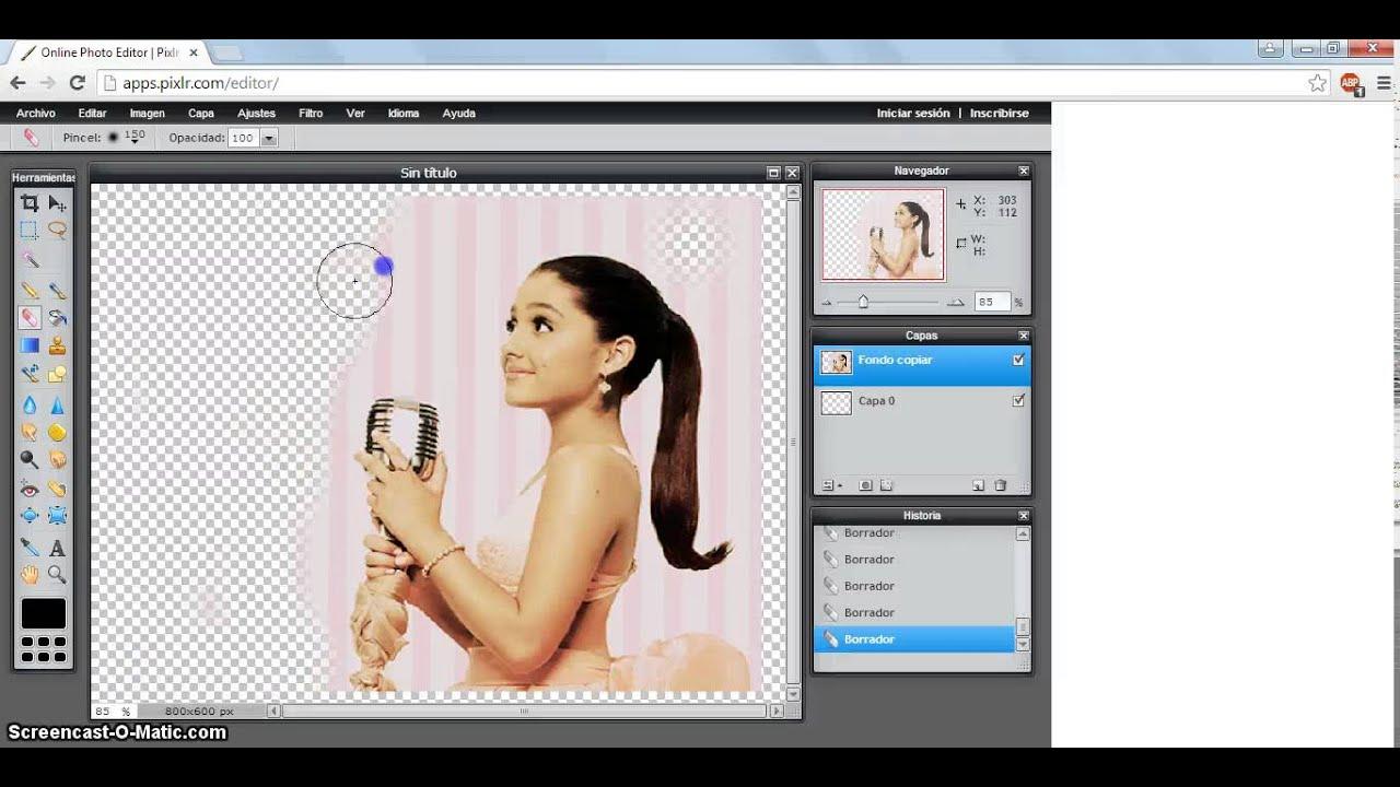Como Recortar una Imagen ~PNG~ en Pixlr.