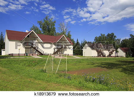 Stock Photograph of Cottages on the territory of Health Resort.