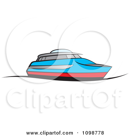 Clipart Of A Black And White Recreational Boat.