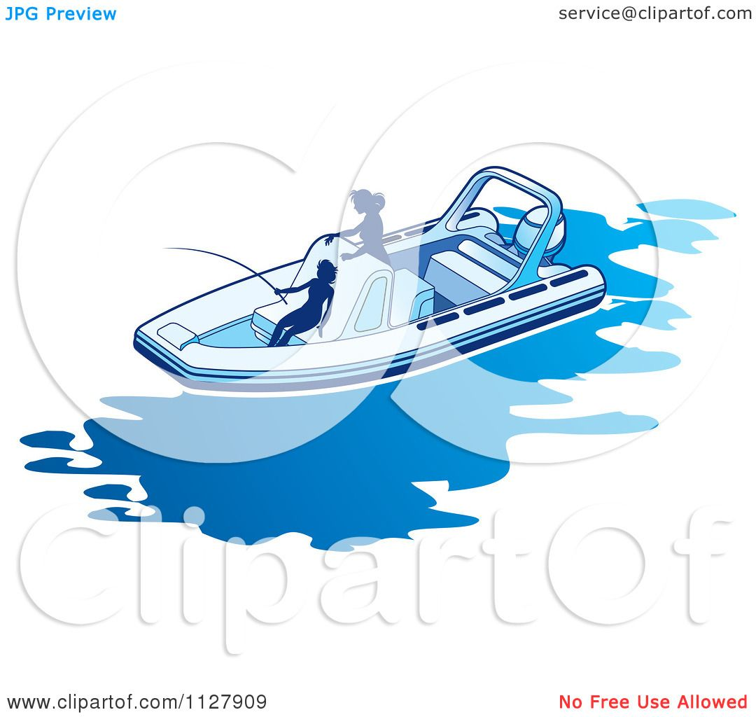 Clipart Of Silhouetted Women Fishing From A Boat 1.