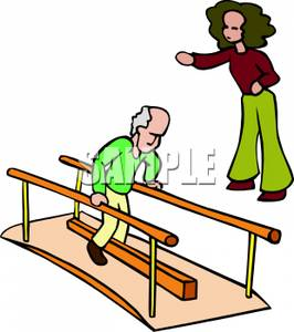 An Elderly Man Doing Physical Therapy with His Therapist.