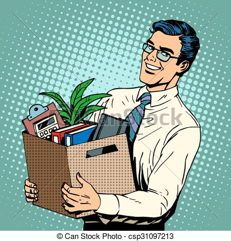 Vector Clip Art of New job Manager recruited in the office pop art.