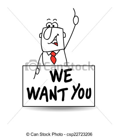 Vector Clipart of yes we want you.