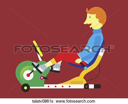 Stock Illustration of Man on recumbent exercise bike. talatv0861s.