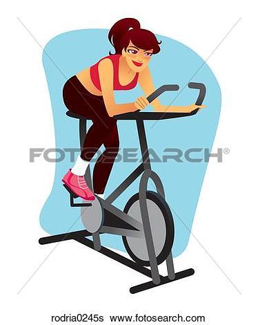 Stock Illustration of Woman on recumbent exercise bike.
