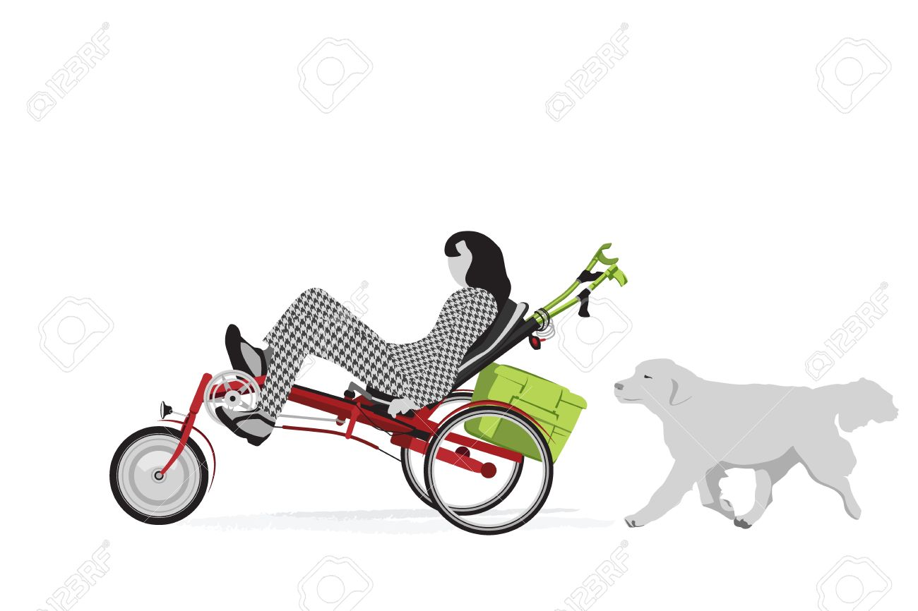 Disabled Person Riding Recumbent Tricycle Royalty Free Cliparts.