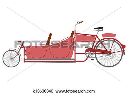 Clipart of Long recumbent bike. k13536340.