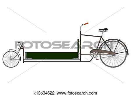 Clipart of Cargo recumbent bike. k13534622.