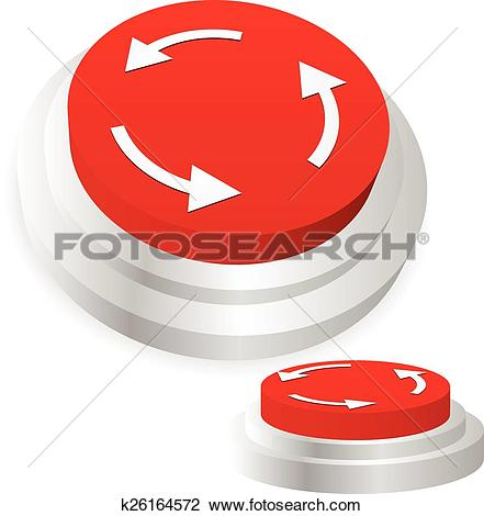 Clipart of Machine operation button. Restart, repeat, recurring.