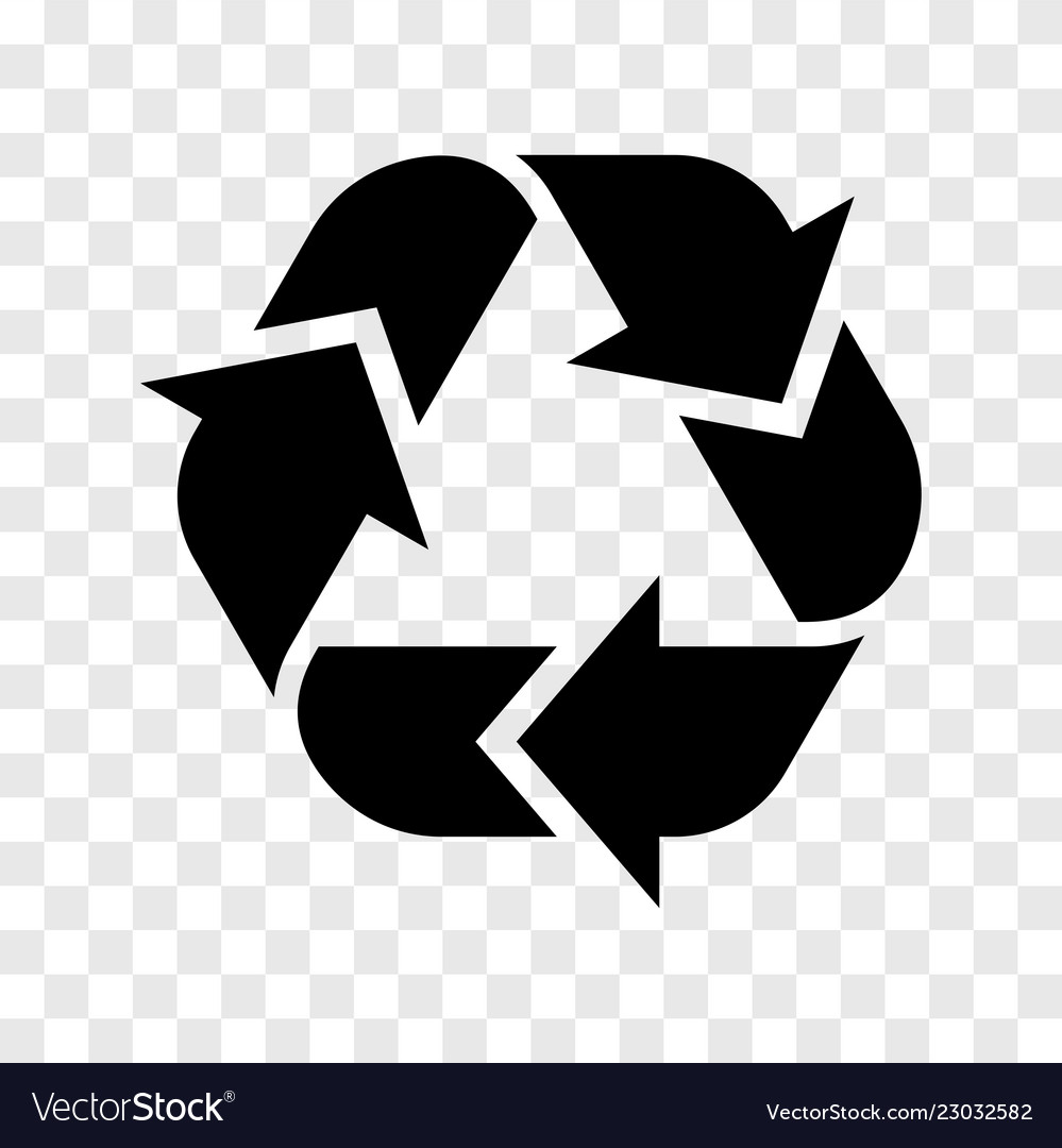 Recycle logo icon recycled black sign isolated on.