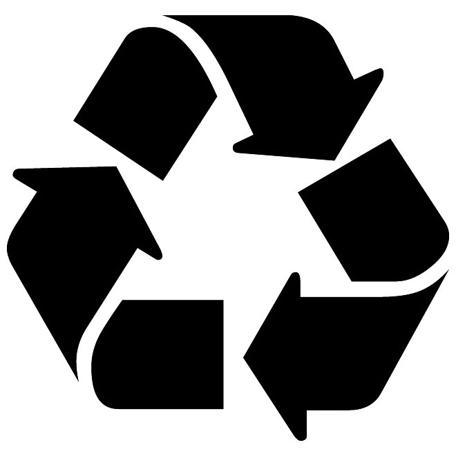 Recycle symbol vector label.