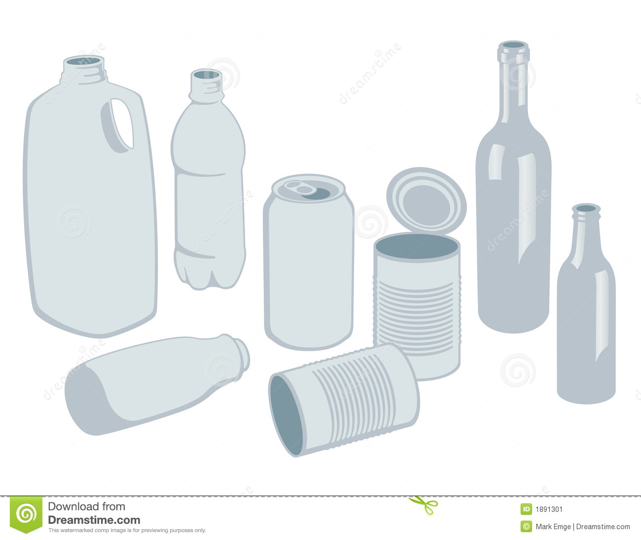 Recyclables Vector Stock Image.