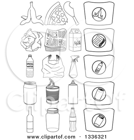 Clipart of Cartoon Recyclables, Products and Bags.