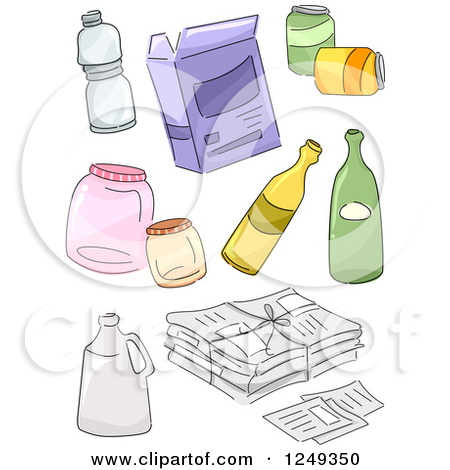 Clipart of Sketched Recycle Items.