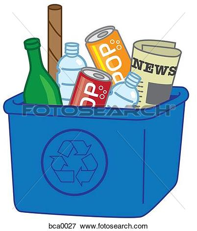 Stock Illustration of A recycling box full of recyclables bca0027.