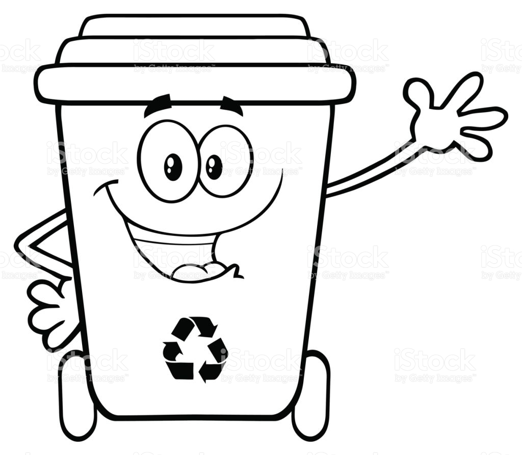 Black And White Happy Recycle Bin Cartoon Character Waving.