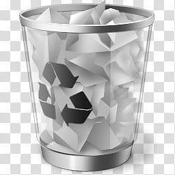 Black Vista Icon , Recycle Bin (Full, white and black.