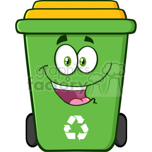 royalty free rf clipart illustration happy green recycle bin cartoon  character vector illustration isolated on white background . Royalty.
