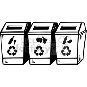 eco recycle bins clipart. Royalty.